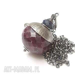 rubinowa kula vol 3 -naszyjnik - rubin, szafir, surowe, srebro, oksydowane