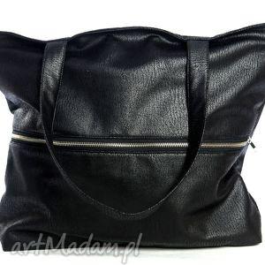czarna elegancka torba z nubuku tapicerskiego na ramię, torba, czarna, zamkiem