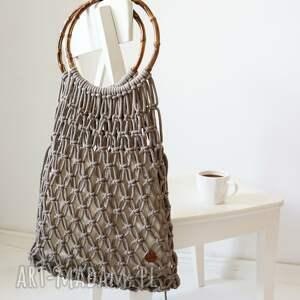 ręcznie pleciona siatka z bambusowymi uchwytami, siatka, torba na lato