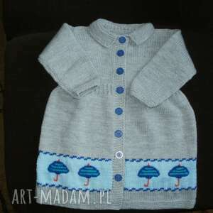 Sweterek-płaszczyk Parasolki , rękodzieło, włóczka, płaszczyk, dziewczynka