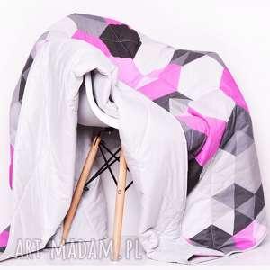 narzuta hexagons - pink 155x205cm, młodzieżowa, szara, różowa