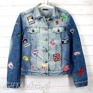 kurtka dżinsowa z naszywkami - kurtka, dżinsowa, naszywki, aplikacje, katana, haft