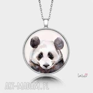 medalion okrągły panda, prezent, czarno, biała, puszysta, bambus, zwierzak