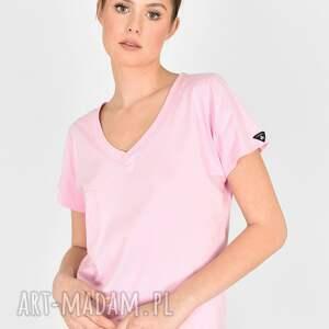 handmade koszulki t-shirt v-neck różowa landrynka