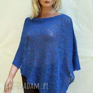 letnie bawełniane niebieskie ponczo, ponczo bawełniane, cienkie