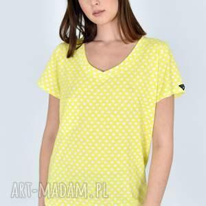 handmade koszulki t-shirt v-neck cytrynka w kropki