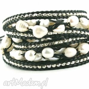 Zestaw Coco Rock, zalestaw, komplet, perły, hodowlane, rzemień, metalowe