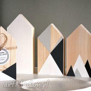 4 domki drewniane, domki, drewna, domek, geometryczne, dekoracje