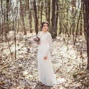 Suknia ślubna w stylu boho, nowa model pokazowy z salonu