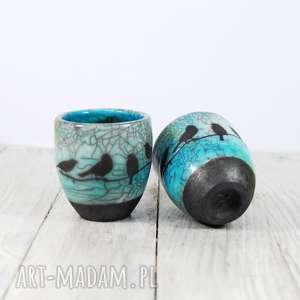 hand-made ceramika czarki ptaszki raku
