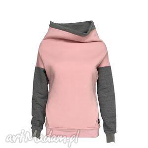 ręcznie robione bluzy bluza damska z kieszonką kominem w kolorze pudrowego