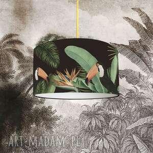 abażur do lampy czarny tukany, abażur, tropikalny, dżungla, bawełna
