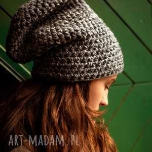czapka hand made no 041 beanie szydło - czapka zimowa, czapka wełniana