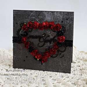 mroczna kartka ślubna - zamówienie p marty - róże, trybiki