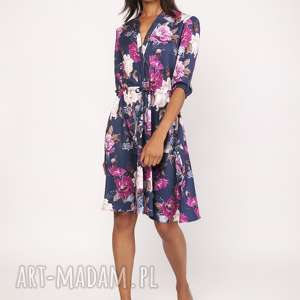 sukienki uniwersalna sukienka z delikatną stójką, suk155 kwiaty