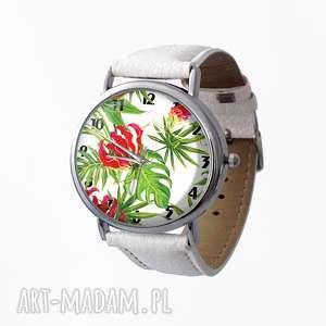 Zegarek z dużą tarczą Tropikalne kwiaty, zegarek, skórzany, tropikalne, egzotyczne