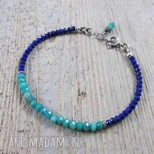 Amazonit rosyjski z lapis lazuli - bransoletka, amazonit, lapis, srebro, bransoletka