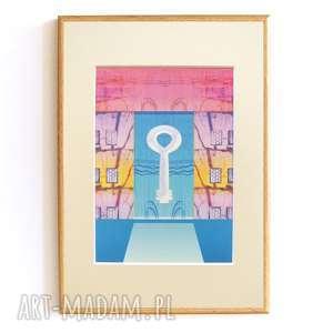 dom oprawiona nowoczesna grafika do pokoju, pastelowy obrazek oprawiony, pastelowa