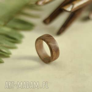 obrączki męska obrączka z drewna tekowego, obrączka, drewniana