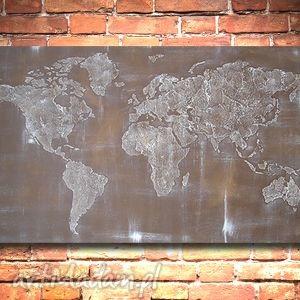 ręcznie malowana mapa świata - 01- 126x70cm obraz, mapa, świata, płótno