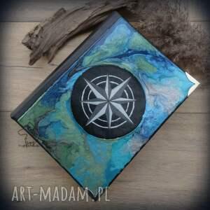 Album na zdjęcia z ręcznie malowaną okładką Róża Wiatrów, kompas, róża, wiatrów, a