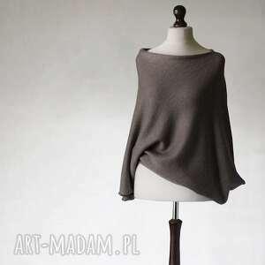 asymetryczny sweter z wełny merino superwash, asymetryczny, sweter, pulower, wełna