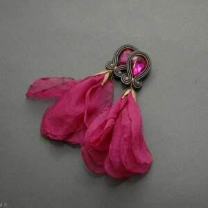 klipsy sutasz z kwiatkiem, sznurek, wyjściowe, długie, eleganckie, wiszące