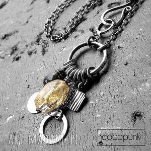 cocopunk cytryn,kwarc,srebro - okazały naszyjnik z hakiem, duży, cytryn