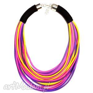 rainbow - kolorowy, duży, naszyjnik, sznurkowy, masajka, etniczny