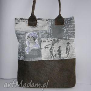 torba secesja - shopper bag, torba, secesja, len, skóra, laptop, a4