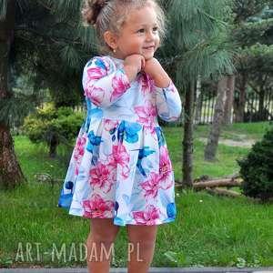 Sukienka dla dziewczynki KOLIBER, koliber, dzianina, sukienka, kwiaty, bawełna