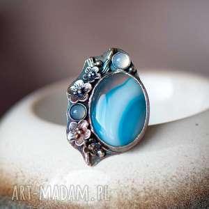 błękit nieba na palcu pierścionek srebrny a715, z agatem