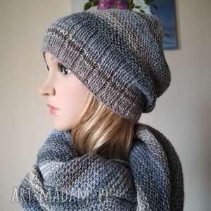 Prezent Paleta szarości komplet, rękodzieło, czapka, szal, styl,