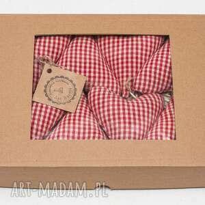 Prezent Zawieszki na choinkę bombki serduszka rustik w pudełku prezent, zawieszka