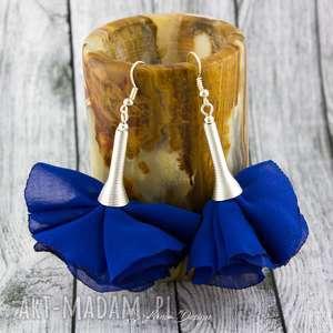 handmade kolczyki kolczyki silk chabrowe kwiaty
