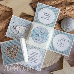 hand-made scrapbooking kartki eksplodujące pudełeczko - narodziny, chrzest, roczek, urodziny. motyw z małym, dziecięcym aniołkiem