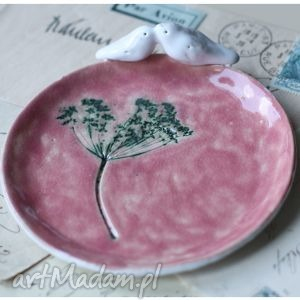 Średni talerzyk różowy, talerzyk, koper, ptak, ceramika