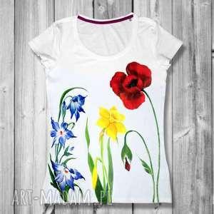 bluzki śliczna bawełniana bluzka- ręcznie malowana w kwiaty z polskich ogrodów