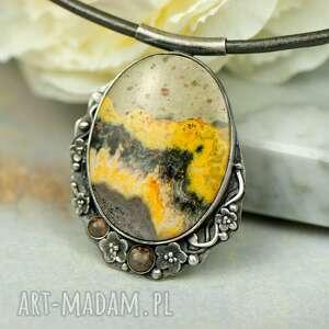 naszyjnikze srebra z żółtym jaspisem a892, biżuteria kamieniami, jaspis