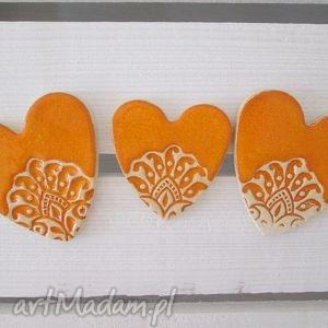 ceramika ana mandarynkowe serduszka zestaw magnesów, magnesy, ceramiczne