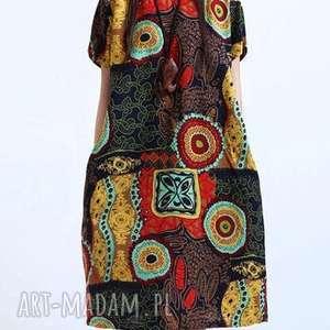 artystyczna sukienka we wzory, damska, len, drukowana, bawełna, kobieca