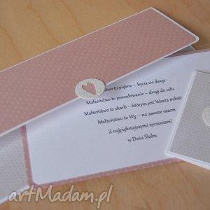 ręczne wykonanie kartki kopertówka ślubna plus bilecik do prezentu