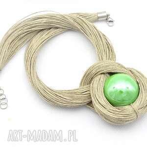 naszyjnik z lnu ceramiczną zieloną kulą, ze sznurka, ceramizny