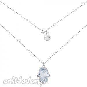 srebrny naszyjnik z kryształową ręką fatimy swarovski®