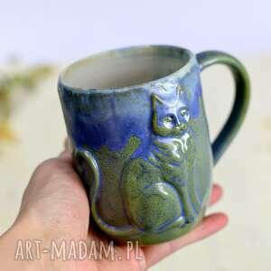 ręcznie zrobione ceramika handmade kubek ceramiczny z kotem| duży | moss 430ml