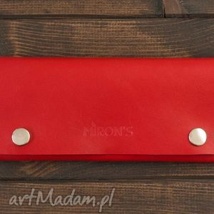 Portfel Skórzany Czerwony, portfel, skóra, minimalistyczny, naturalna