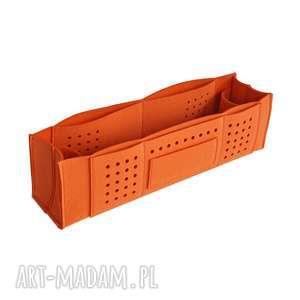 Organizer na biurko z przegrodami - pomarańczowy, pojemnik