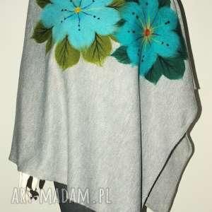 ponczo filcowane damskie, filcowane, kwiaty, peleryna, narzutka, prezent
