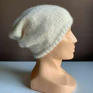 handmade czapki ręcznie robiona czapka hand made ecru alpaka