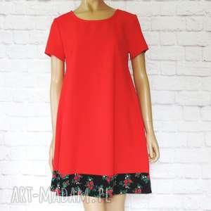 sukienki czerwona trapezowa sukienka folk góralska, sukienka, folkowa